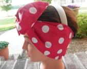 Rockabilly 50s BIG BOW Hair Wrap Headband - Handmade - Vintage 1940's Rosie Inspired