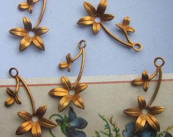 6 Vintage Metal  Flowers On Stems