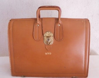 50s 60s Leather Briefcase / MVD Salesman Case by David's of Hollywood