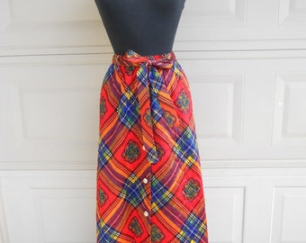 SALE 60s Plaid Quilted Maxi Hostess Skirt