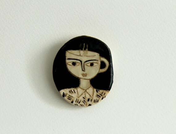 "Ceramic brooch ""Cup Woman II"""