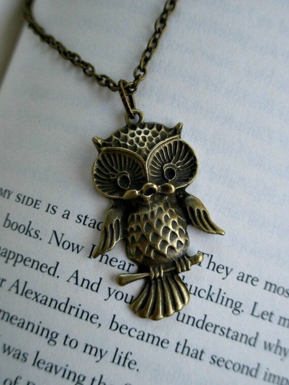 Owl necklace- Cute owl necklace-Antique brass owl necklace- Bird- Nature- Fashion-Owl accessory- Owl on a branch necklace