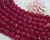 Fuchsia faceted Jade gemstone bead - 8 mm beads- full strand