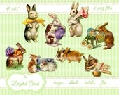 Digital Clipart, instant download, Vintage Easter Bunny Bunnies, clip art, Easter Rabbits, Easter eggs, painted egg, flowers--PNG files  407