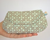 Handmade Clutch, in a Seafoam Quatrefoil Print, Party Clutch, Cotton Fabric Clutch