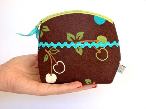 Brown Make up Zipper Pouch, in Cherries Cotton Fabric Print on Chocolate Brown Background