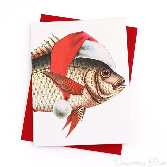 Merry fishmas holiday card set of 8 card with a fish in a for Christmas fish starters