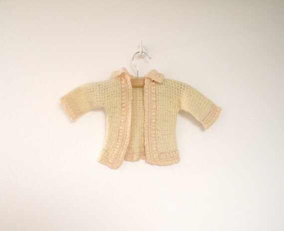 1920's Hand Knit Cream and Pink Sweater and Matching Booties