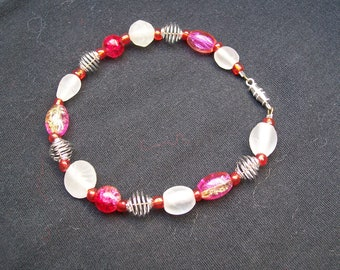 Handmade Pink and Silver Bracelet-- Sale Price