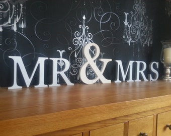 Handpainted Freestanding Wooden Letters - Mr & Mrs - Weddings - 15cm letters and 25cm ampersand