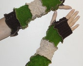 Extra long arm warmers in green, brown and oatmeal