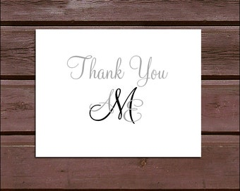 50 Monogram Wedding Thank You Notes - monogrammed