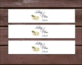 100 Calla Lily Wedding Invitation Belly Bands Wraps.  Includes personalization and  printing