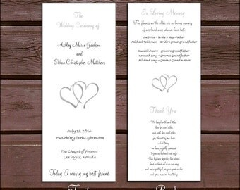 100 Hearts Wedding Ceremony Program