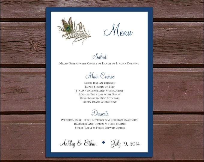 100 Peacock Feathers Wedding Menu Cards - Dinner Menus