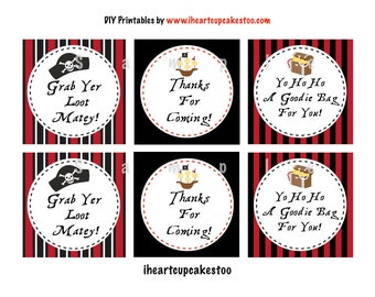 On vacation!  All orders placed will ship June 27th!  Pirate Favor Tags - INSTANT DOWNLOAD
