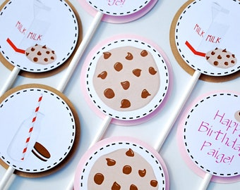 Milk and Cookies Birthday Cupcake Toppers