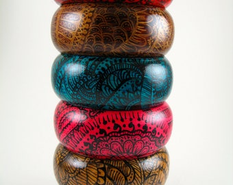 THREE Mehndi Inspired Wooden Bangle Bracelets