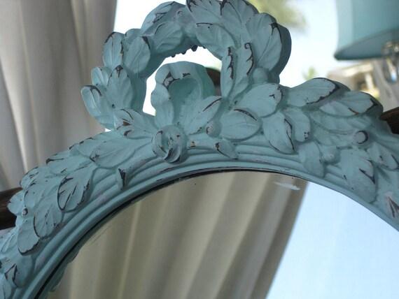 Ornate Shabby Regency Petite Oval Wall Mirror Upped in Aqua