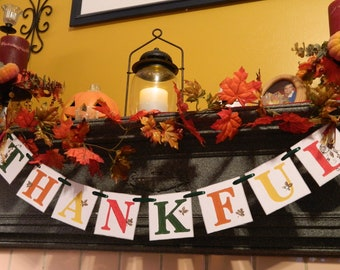 READY to SHIP-Thanksgiving Decorations-Thanksgiving Banner-Fall Decorations -THANKFUL Banner- Fall Mantle Garland - Family Photo Prop