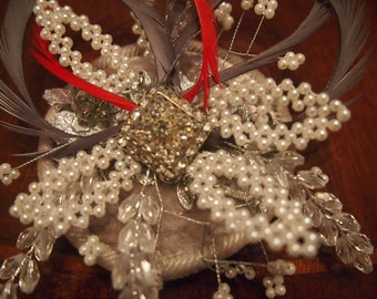 Couture Christmas Fascinator with pearls, red feathers, grey feathers, crystals, velvet, hat, hair clip.