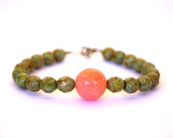 Czech Glass Beads, Agate Bead beaded Bracelet
