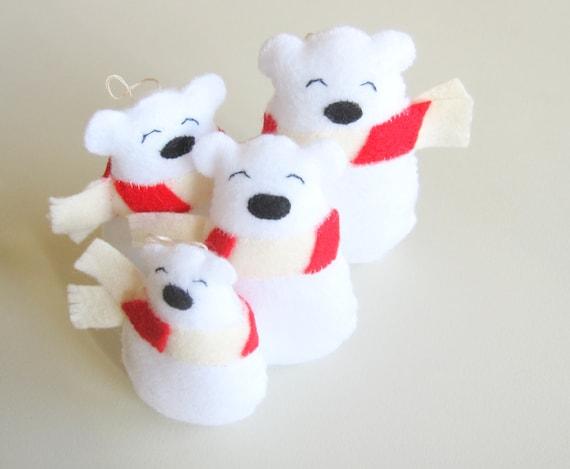 Polar Bears with Scarfs, felt christmas ornaments