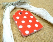 Gift Tag - Gift Packaging - Gift Wrap - Party Decoration - Price Tag - Party Favor Tag - Minnie/Mickey Mouse (Primary Red Polka Dots)
