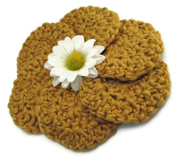 Round Facial Pads Organic Cotton Gift Set, Gold Scrubbies, Ready to Ship