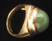 SOLD/PAID Vintage Gentlemans Beautiful Apple Jade Ring 14K karat Gold Estate Heirloom Size 10.5