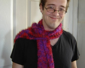 Super soft short scarf bright colors fuzzy furry wide wrap warm no wool red magenta purple punk neon