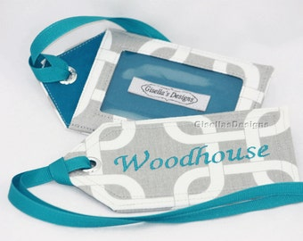 Grey and Teal Handmade Luggage tag, Personalized travel Tags, Baby Bag tags, Personalized Gift