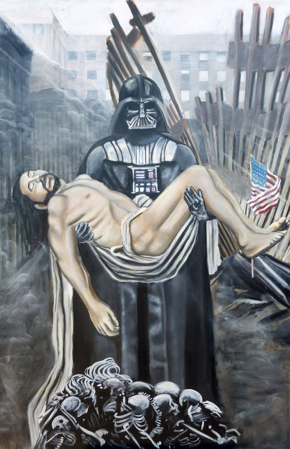 Darth Vader, Caravaggio's Christ, & The World Trade Centers Surreal Art Realistic Star Wars Painting HUGE stretched GICLEE PRINT