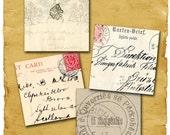 Vintage letters Post cards stamp  handwriting  2 in -  Digital Collage Sheet, Download Scrapbooking Paper  Print  Clip Art Images J12