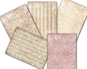 Decoupage, Vintage wallpaper Damask Shabby Chic old  Paper - set of 5 -  scrapbooking ,  Digital Collage Sheets  to Download 56