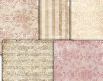 Decoupage, Vintage wallpaper Damask Shabby Chic old  Paper - set of 5 -  scrapbooking ,  Digital Collage Sheets  to Download Tp30