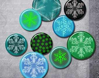 Christmas snowflakes, tags,  backgrounds, winter,  green, blue , 2 in  Digital Collage Sheet, Download for Resin Pendant, Round Circle (J4)