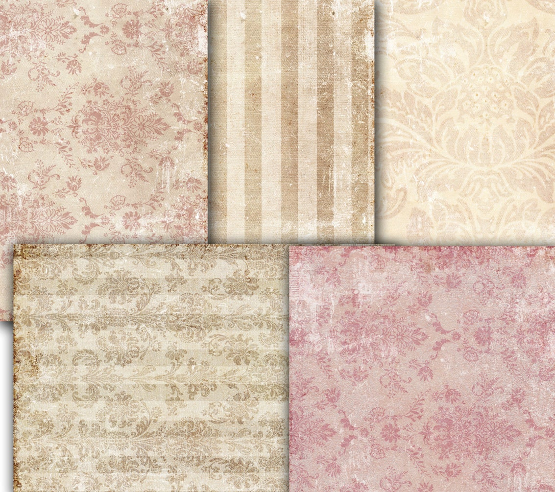 Old Paper Wallpaper: Decoupage Vintage Wallpaper Damask Shabby Chic Old Paper