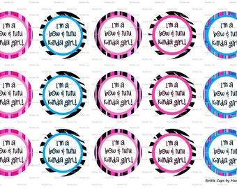 """15 Bow & Tutu kinda Girl Images Digital Download for 1"""" Bottle Caps (4x6)"""