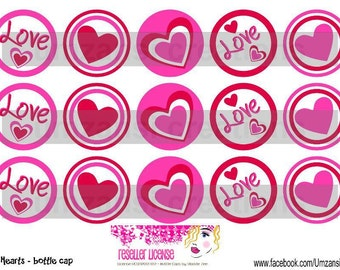 "15 Love Hearts Digital Download for 1"" Bottle Caps (4x6)"