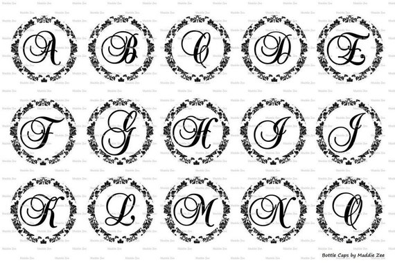 complete alphabet damask fancy letters images digital download for 1 bottle caps 4x6