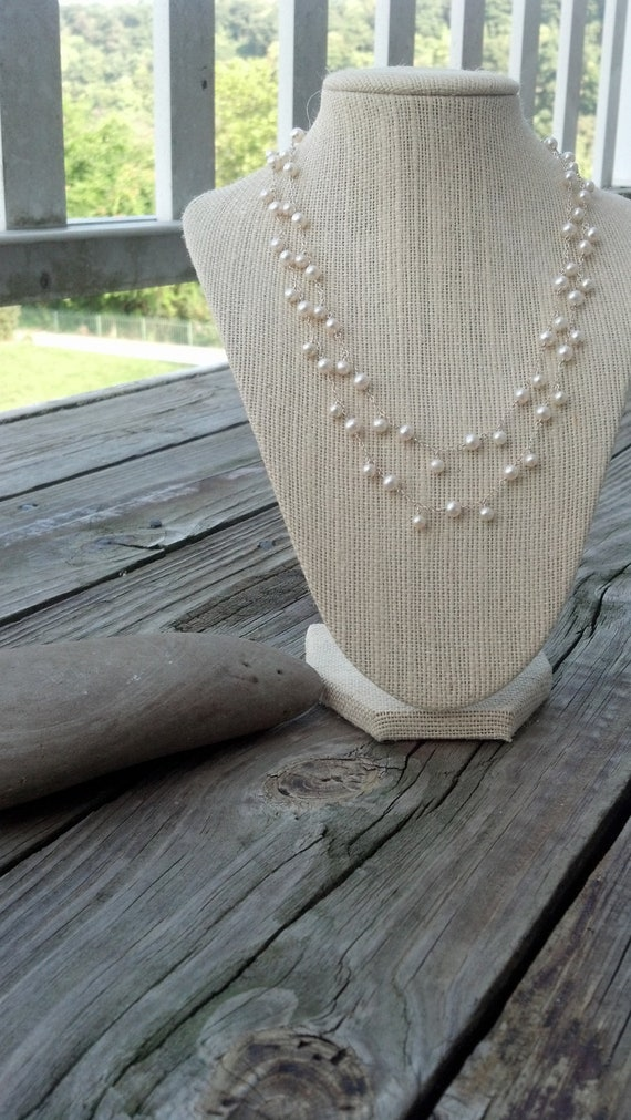 Layered Sterling Silver and Pearl Necklace- Double layer