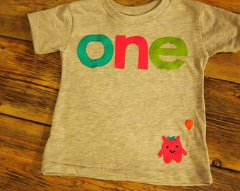 Little Monster Party Birthday Tee Monster Applique Organic Blend Black Tee pink lime turquoise