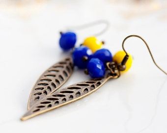 Blue Yellow Beads Leaf Earrings Brown Feather Earrings Leaf Charms Boho Earrings Bohemian Jewelry - E214