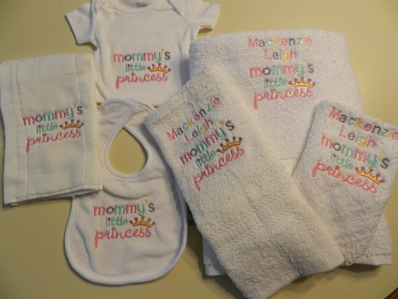 6 Piece Set of Embroidered Mommy's Little  Princess  1 Onesie, 1 Burp Cloth & 1 Bib, 1 Bath Towel, 1 Hand Towel and 1 Wash Cloth