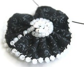 Beaded Fabric Flower Choker - Black White Day of the Dead Skeleton Halloween