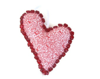 Folk Art Ornament - Beaded Fabric Heart in Red