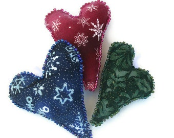 Trio of Holiday Ornaments - Hearts in Christmas Red Holiday Green Winter Blue