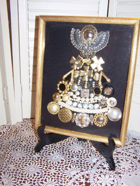 Jewelry Christmas Tree Art Assemblage Shadow Box Picture