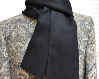 Classic Black Wool Scarf - mens or womens - basic black 6 x 60 - business attire - made of wool from Oregon